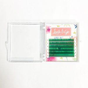 Цветные ресницы Lash&Go микс Зеленый (6 линий)