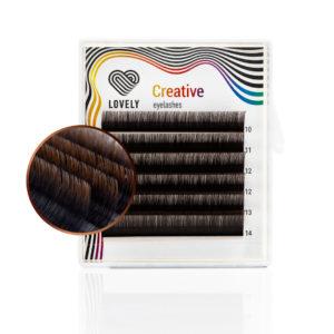 Ресницы двухтоновые тёмный шоколад Lovely MINI MIX, 6 линий