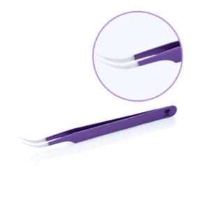 Пинцет для наращивания ресниц цветной Lovely Lavender Line изогнутый