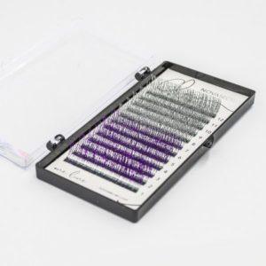 Ресницы с блестками NOVASECRET Glow, Silver-Purple (Серебристые и Пурпурные), 12 линий, С 0,10 - 12 мм 1